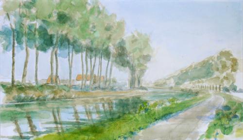 watercolor of the bend in the Damse Vaart, 2011