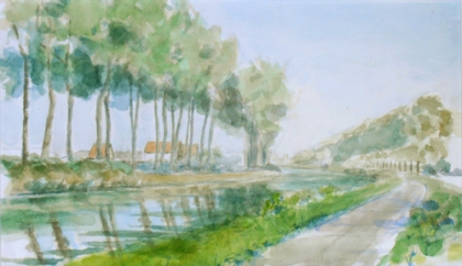 watercolor of the bend in the Damse Vaart, 2011