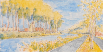 india ink and egg tempera underpainting of the Damse Vaart bend