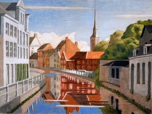 Final layer of paint on the Vaardijk. Note the highlights of the green tree in the foreground, right and the building roofs on the right side of the canal. They are highlights reclaimed through painting backwards and/or light glazes.The highlights of the white building foreground, left, are a more impasto lead white.