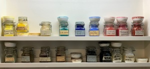 My collection of dry pigments in the studio