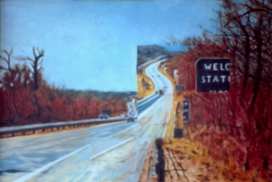 Interstate 90, Back. Somewhere around Old Saybrook, Connecticut? 1980. Oil on panel. Approx: 12 x 16 or 30 x 40 cm.