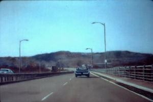 Interstate 90, Front. New Haven, Connecticut. 1980. Oil on panel. Approx: 12 x 16 in or 30 x 40 cm.