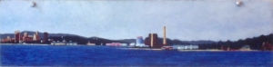 "New Haven from Lighthouse Park I. 1980. Oil on panel. 5' x 15""."