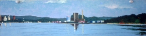 "New Haven from Lighthouse Park II. 1980. Oil on panel. 5' x 15""."