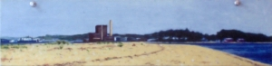 "New Haven from Sandy Point. 1980. Oil on panel. 5' x 15""."