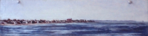 "Old Saybrook. 1978. Oil on panel. 5"" x 15""."