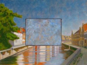 View of the Predijkherrenrij, Front, Bruges, Belgium. 2010. Oil on panel 44 x 54 cm.