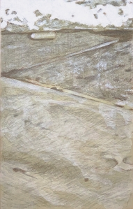 Pieces of Me #58, silverpoint underdrawing over toned ground tightened with acrylic
